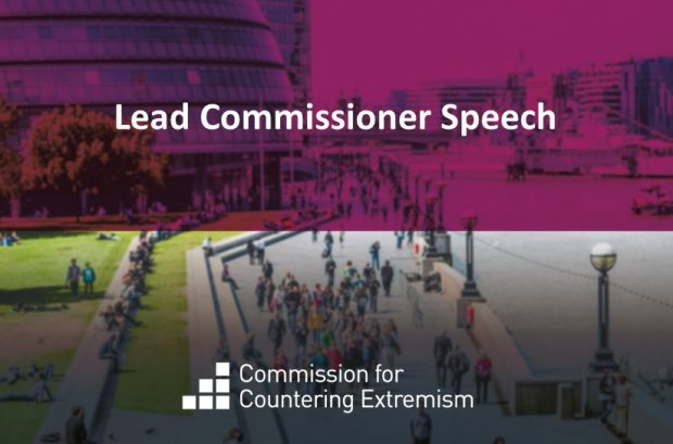 Graphic with the words Lead Commissioner Speech