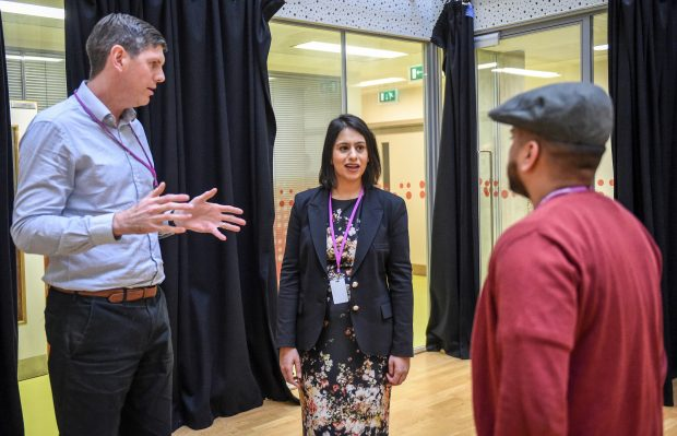 Picture of Lead Commissioner, Sara Khan meeting two people from Poplar HARCA in Tower Hamlets