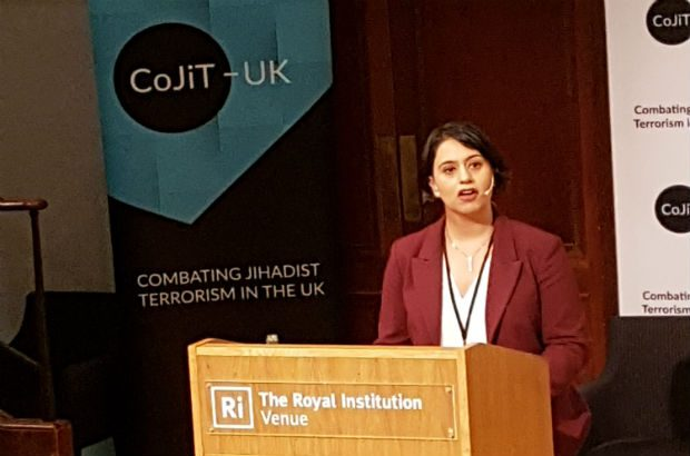 Sara Khan speaking at the Cojit conference in September