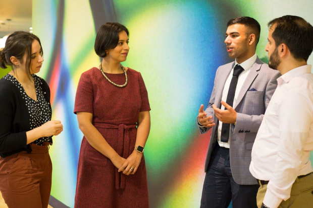 Sara Khan talks to 2 men and one woman from the Bradford Lead programme